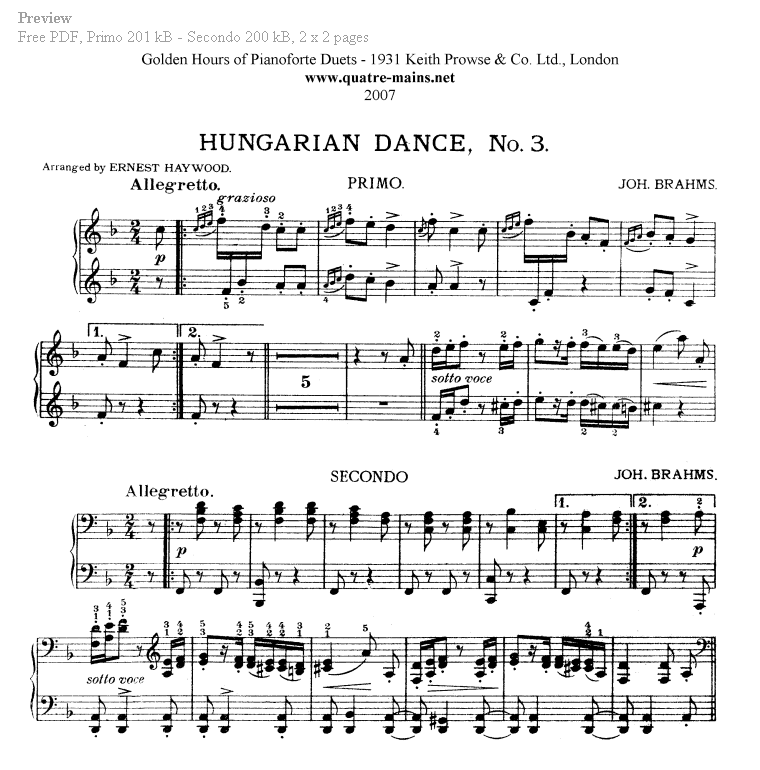Piano Four Hands Sheet Music. Free classical piano music.