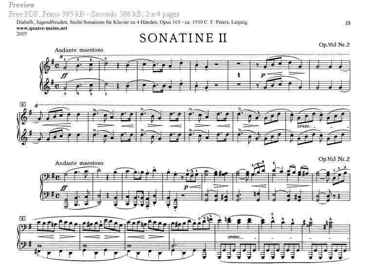 Piano Four Hands Sheet Music. Free