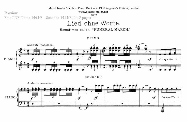 Pianomuziek à Quatre Mains. Gratis download van bladmuziek
