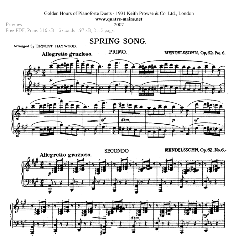Piano piano and trumpet duet sheet music : Piano Four Hands Sheet Music. Free classical piano music.