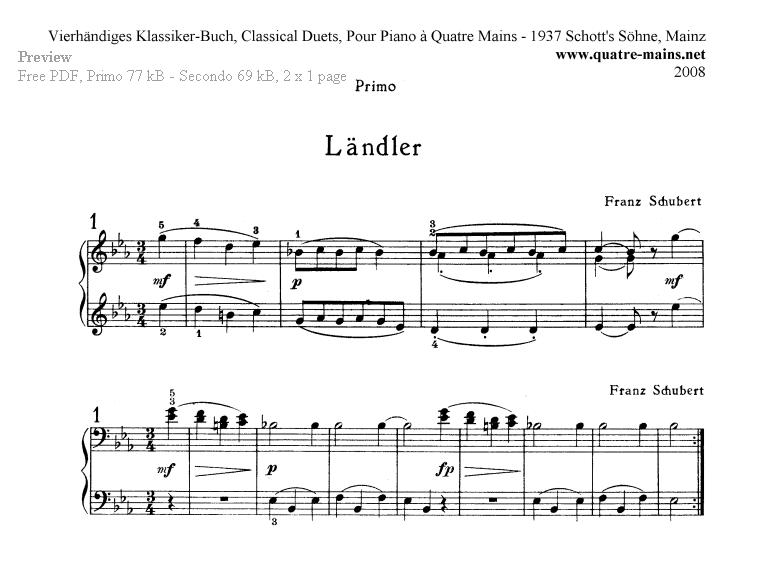 Piano Four Hands Sheet Music  Free classical piano music