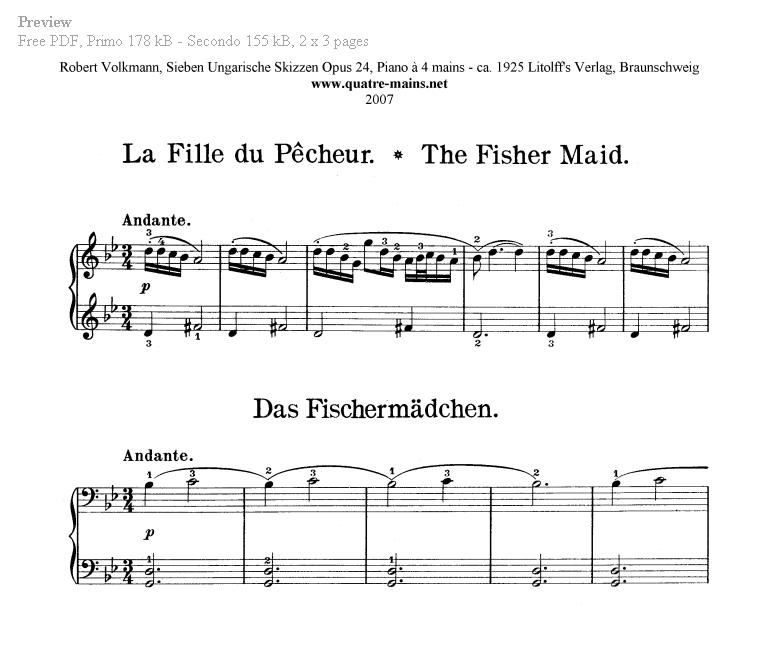 Piano Four Hands Sheet Music. Free classical piano music.